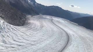 Flying over a glacier