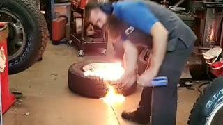 Tire Screams when Lit on Fire