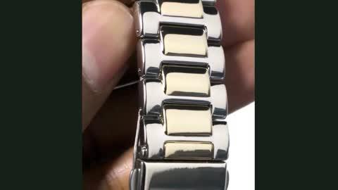 Men's Diamond Accent Two Tone Watch