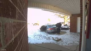 Doorbell Camera Catches Son Slipping