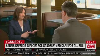 Kamala Harris spins about private insurance