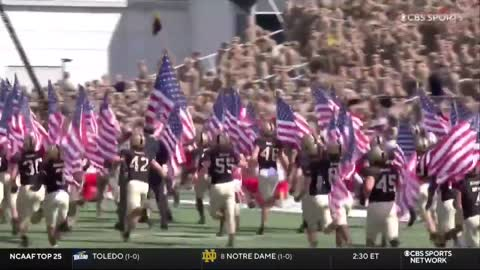 MUST SEE: Every Army Football Player Ran on the Field Carrying an American Flag Today
