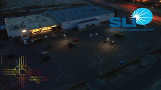 Night Time Stealth LED Streetlight Drone Footage from Solar Lighting International