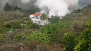 Lava Flow From La Palma Volcano Damaging homes
