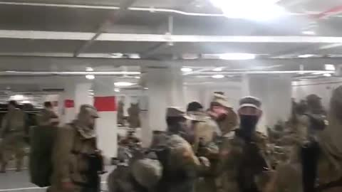 National Guard are sleeping now in a parking garage.