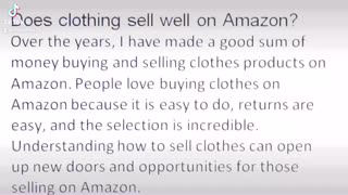 Does clothing sell well on Amazon?
