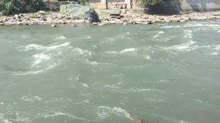 A Beautiful slow motion Water Flowing Seen