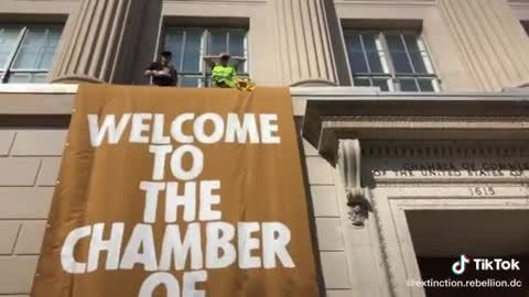 PURE EVIL: Climate Activists ASSAULT Our Sacred Buildings -- the Chamber of Commerce