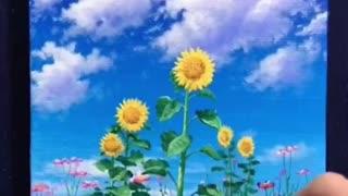 Sunflower Field Acrylic Painting