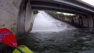 Kayaking Down Waterslide