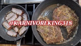 Steak pork belly, and shrimp and sausage Alfredo sauce.