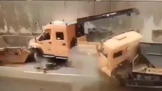 Construction repair tunnel heavy truck video