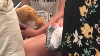Girl new york jersey shirt bear subway smoke vape