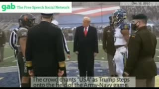 """Crowd chants """"USA"""" as Trump steps onto the field of the Army-Navy game."""