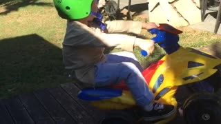 Toddler Wheelie on Toy ATV