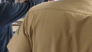 Marine Surprises Little Brother At School