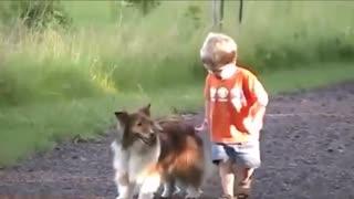 Adorable amistad entre bebe y su mascota