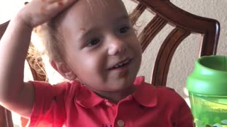 Baby thinks Ketchup is Shampoo