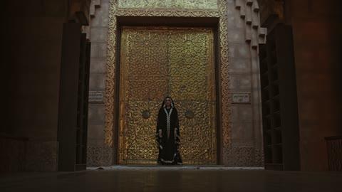 A Woman Standing In Front Of A Bronze Door