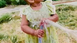 Cutest baby playing with water
