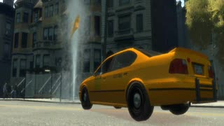 GTA IV - Very strange glitch - car bonnet is flying in the water flow from a hydrant