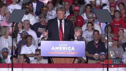 "President Trump at Save America rally in Cullman Alabama ""Woke turns to S"""