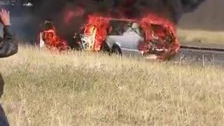Hearse burns in mystery fire
