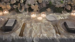 Sequence of a decorated wedding table