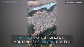 Multidão se aglomera nas montanhas de Oregon para ver eclipse solar