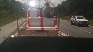 Airboat Tows Truck to Gas Station