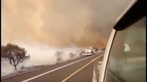 The prairie burned to form a fire tornado