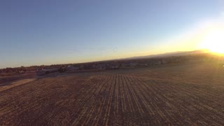 Flying Paramotor at Sunset with Geese