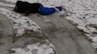 Girl blue joggers slips on icy floor