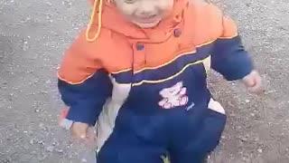 little kid just learned to walk