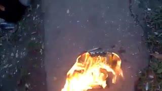 Burning sneakers