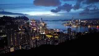 Hong Kong sunset night view