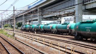 Freight train hauling tankers