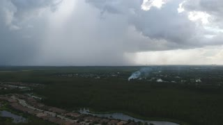 Drone Catches Lightning Strike Sparking a Fire
