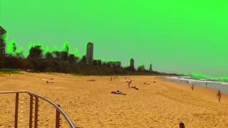 Green Screen Golden Sandy Surf Beach