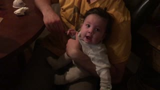 Big brother making little baby sister laugh is too sweet