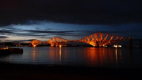 Relax Library Video 60. Night time at the Forth road railway bridge