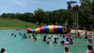 Kid gets launched into the sky from giant water inflatable