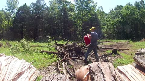 Burning up some old gas. Wood splitting continues.