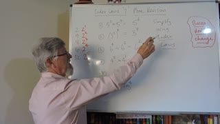 Math Index Laws or Exponent Set A 07 More Revision of Laws 1, 2 and 3 Mostly for Years/Grade 7 and 8