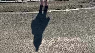 Toddler Discovers Her Own Shadow and Tries to Run Away