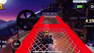 Mario Kart Tour - Merry Mountain R Gameplay (Winter Tour)