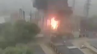 Lightning strikes a power station in Moscow's