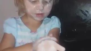 Girl Gives Herself a Yogurt Bath