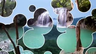Beautiful nature of mountains, trees, waterfalls, sea