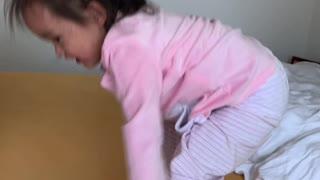 Happy girl with new Pyjamas